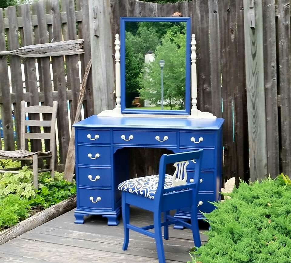Unique and functional vanity refinished by Crooked Oar Creations.  #blue #vanity #diy #refurbish #refinish #inspiration #home #design