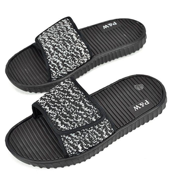 a454afaf0b3a5d SLR BRANDS Men s Slides Slip On Sandal Slipper Comfortable Adjustable  Velcro Shower Beach Shoe Anti-Slip Flip Flop (9 D(M) US