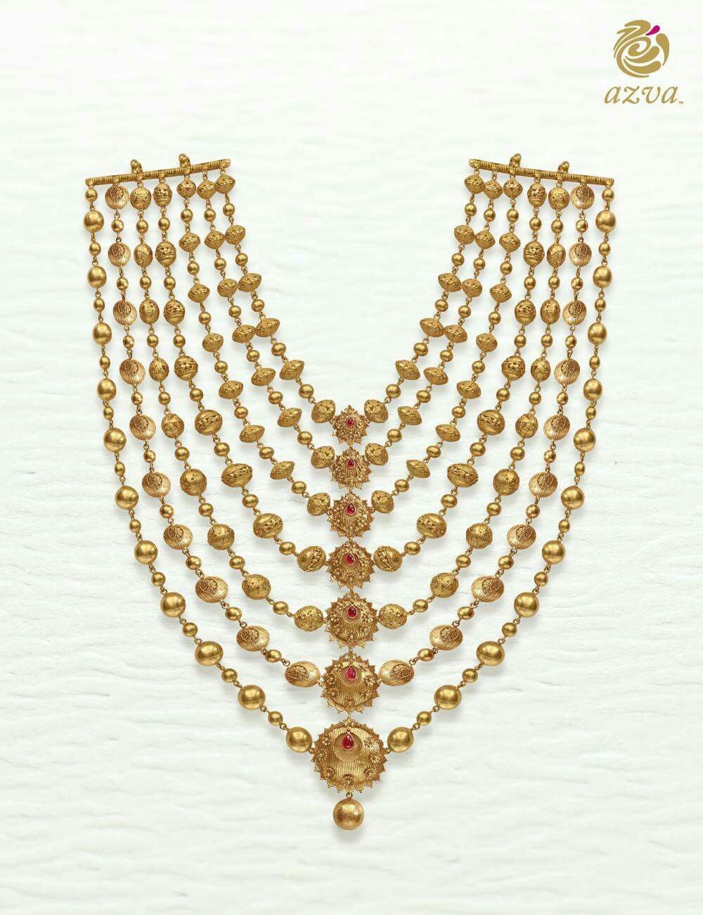 Gold rani haar pictures to pin on pinterest - Azva Gold Haar With Seven Medallions For Your Wedding Day Goldjewellery Luxury