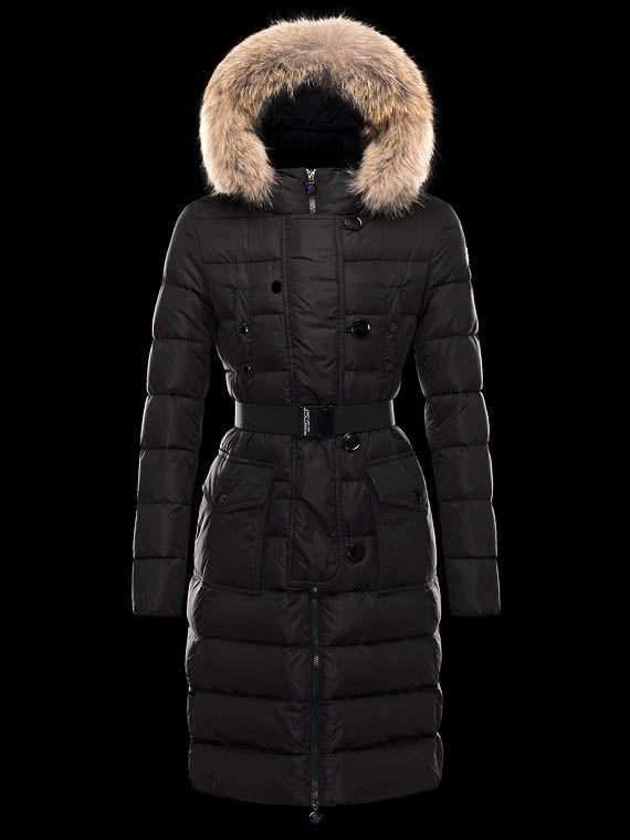 Moncler Women Genevrier Down Coats Hooded Long Black