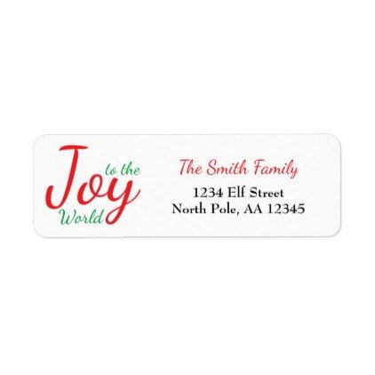 Joy to the World Return Address Label Return address - address label