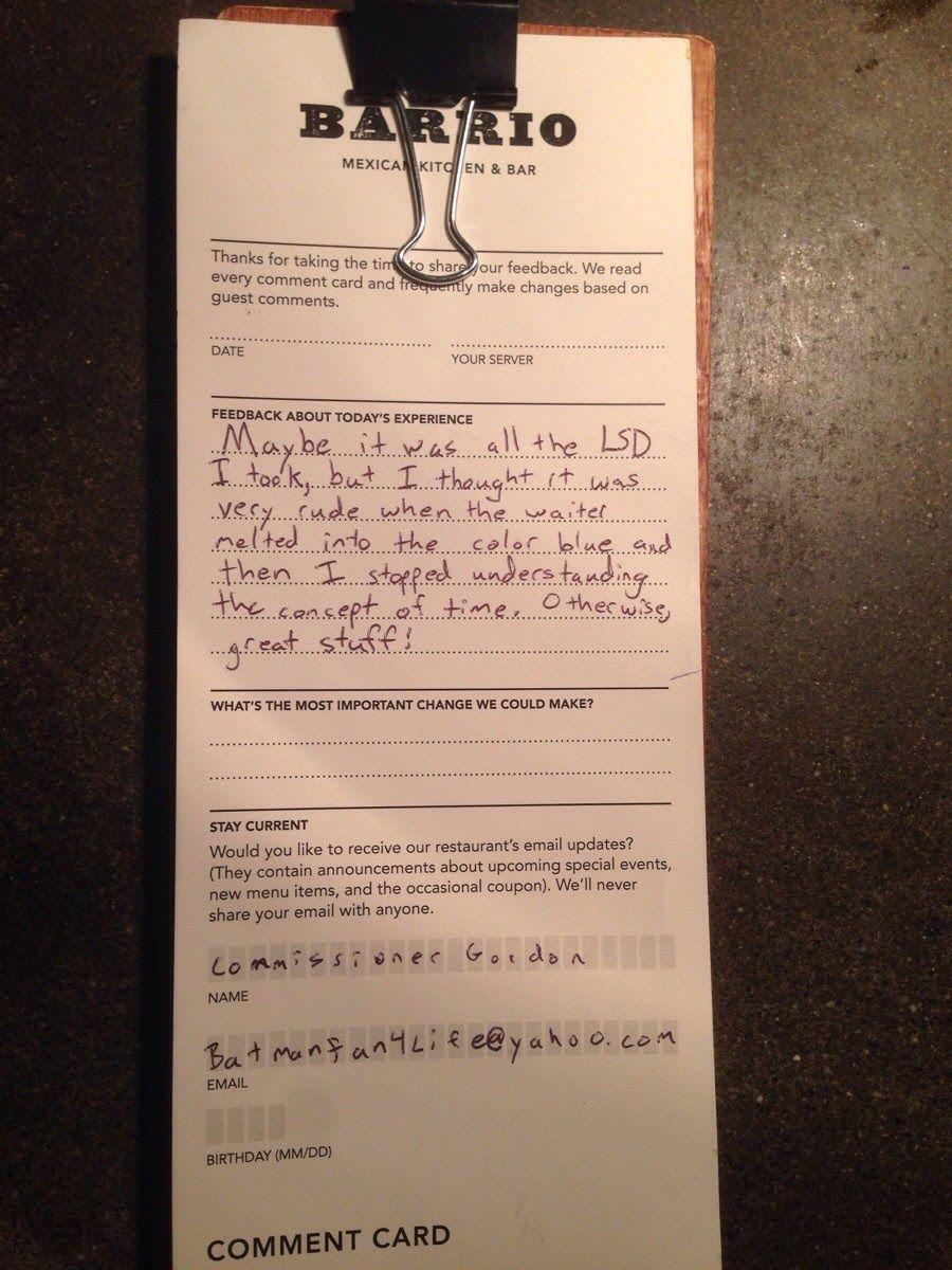Awesome Comment Card Left By A Diner At A Restaurant In Seattle