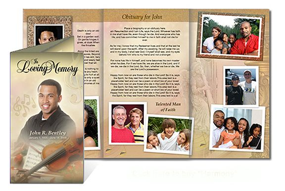 Custom Funeral Programs Tri Fold Brochure Templates  Creative