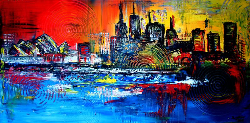 S 25 Sydney Gemalt Acryl Stadtbilder Auf Leinwand Sydney Abstrakt Gemalt Malerei Wandbild Skyline Unikat Gemalde Original Gemalde Malerei Abstrakt Malen