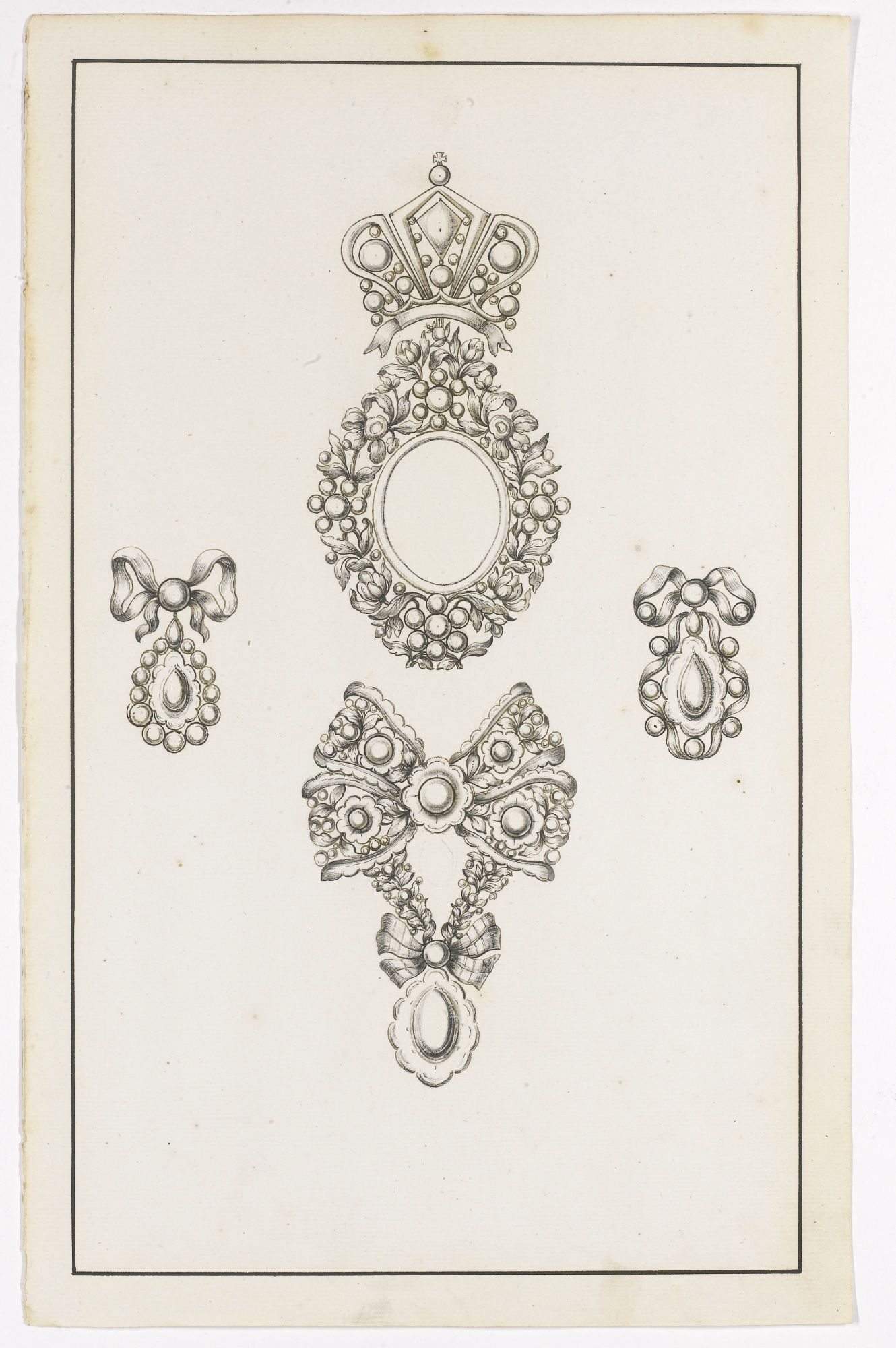 Collection Of Twenty Three Jewellery Designs On Twenty Two Sheets Second Half Of The 18th Century Antique Jewellery Designs Jewellery Sketches Jewelry Drawing