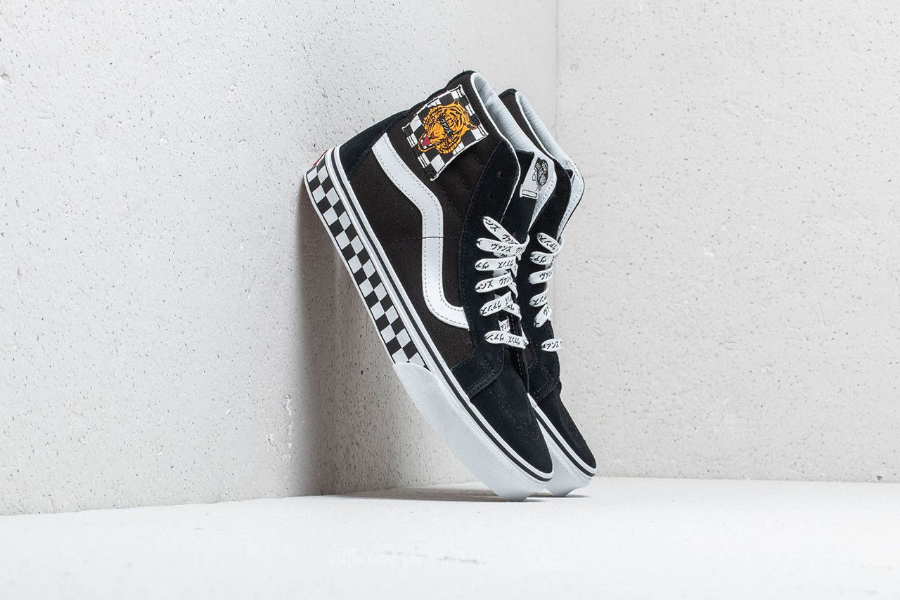 ecc41c30544d vans slip on skate hi tiger check reissue colorway black suede checkerboard  monochrome embroidery japanese katakana text print