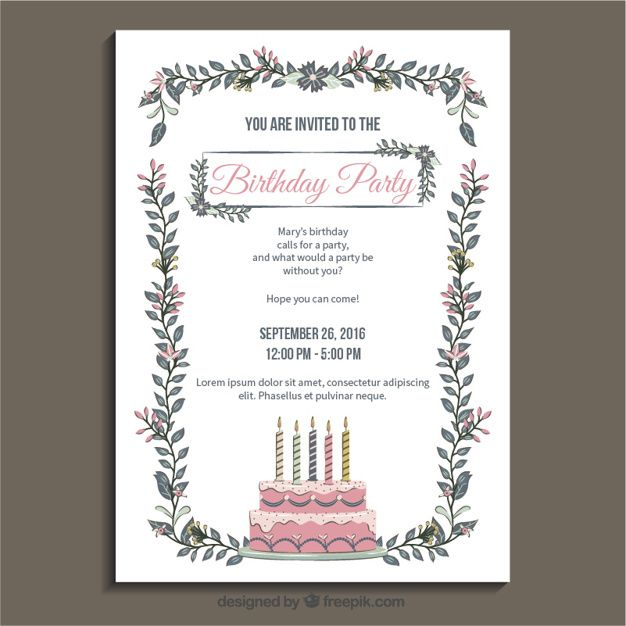 Birthday party invitation template Free Vector #free #vector - free birthday party invitation template