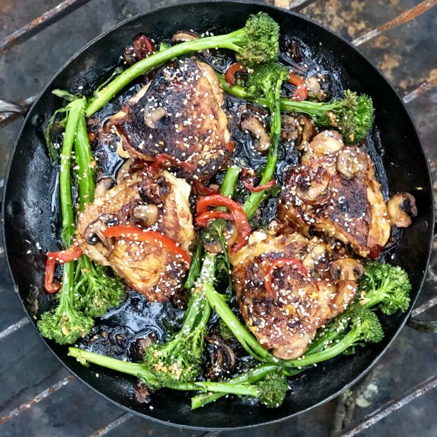 Asian Glazed Chicken Thighs Recipe: Asian Glazed Chicken Thighs With Broccolini, Red Peppers