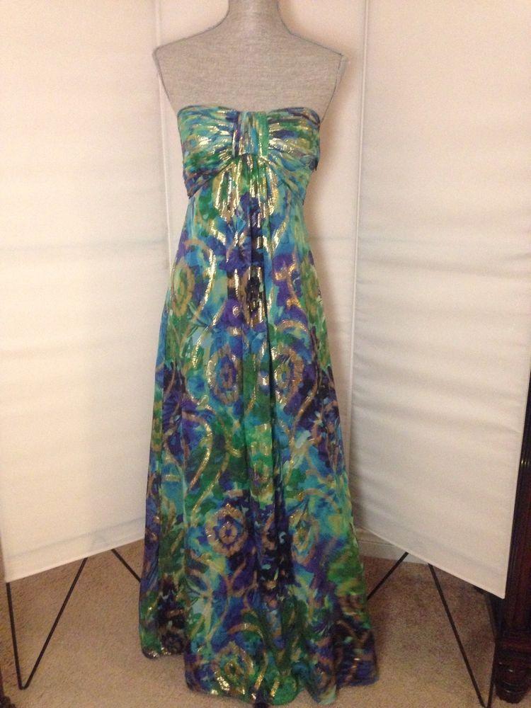 e887505eff1f OLEG CASSINI Silk Maxi Dress 2 Metallic Gold Strapless Gown Green Blue  Purple