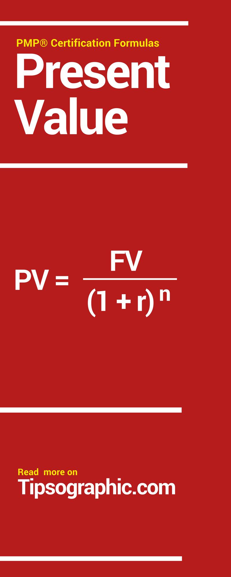 Pmp Certification Formulas Present Value Pinterest Pmp Exam