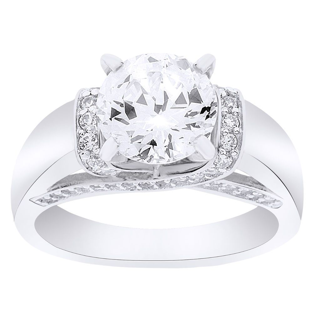 Epiphany Diamonique 100 Facet 2 35 Cttw Fancy Gallery Ring Sold Out Qvc Radiant Ring Engagement Rings Jewelry