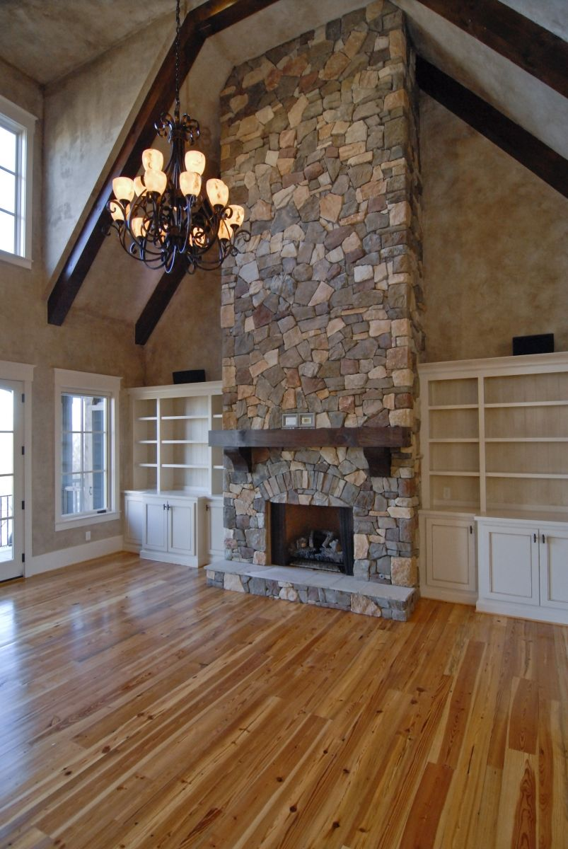 Beautiful Floor To Ceiling Stone Fireplace With Farmhouse Mantle Vaulted Ceiling With Exposed Beam Fireplace Built Ins Rustic Stone Fireplace Farmhouse Mantle