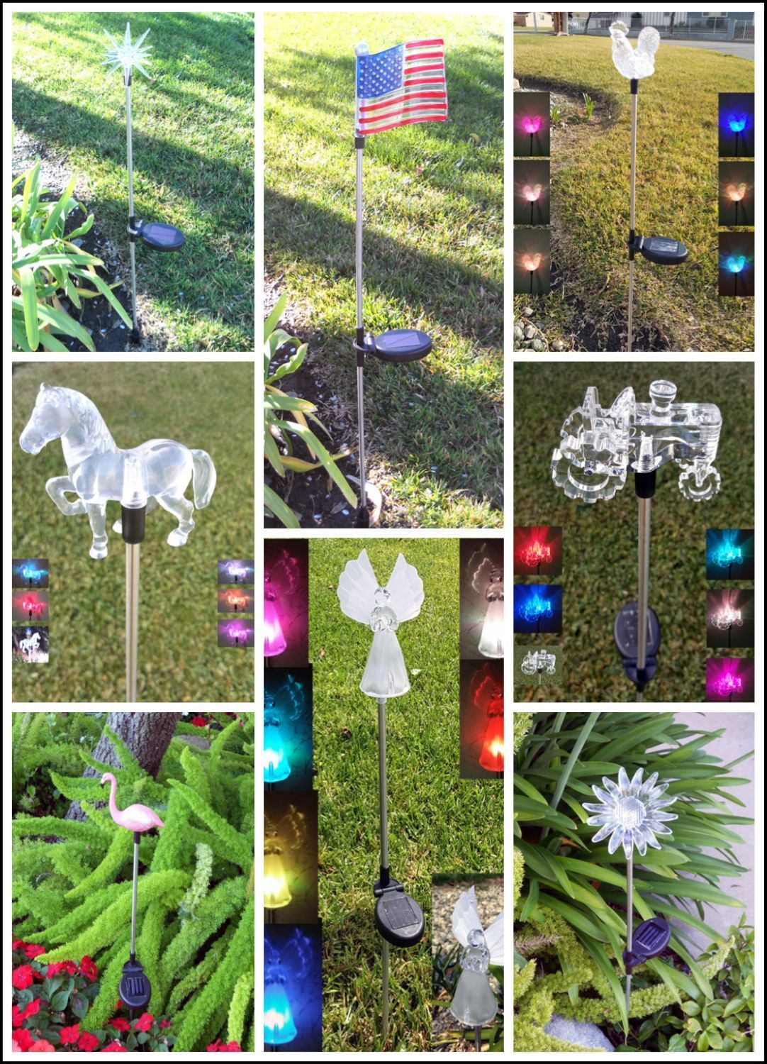 Garden Decoration Solar Powered Color Changing Yard Lawn Patio Stake ...