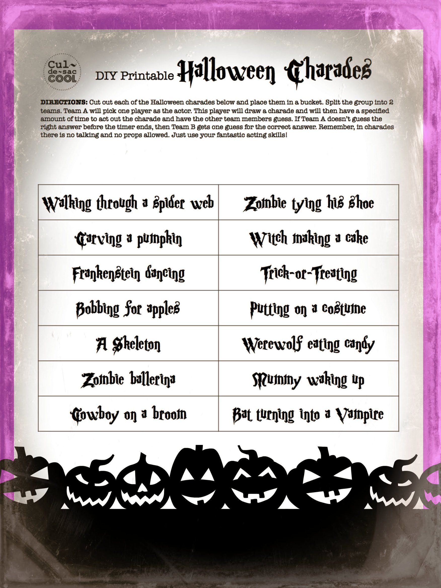 image regarding Halloween Charades Printable referred to as do it yourself-printable-halloween-charades-2 Halloween Clroom