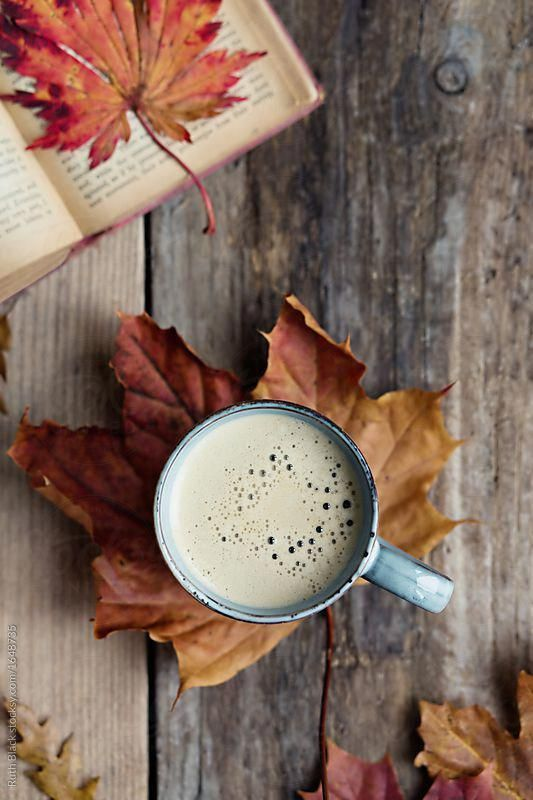 Photo of Coffee and autumn leaves by Ruth Black – Coffee, Fall – Stocksy United #blackcof…