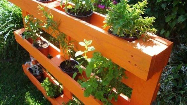 jardin suspendu sur palette  Decoration jardin deborde  Pinterest  Jardins Mobilier jardin