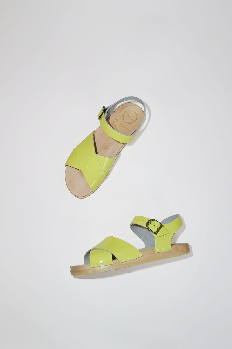6293e1c42cd5 No.6 Coco Cross Front Clog on Flat Base in Yellow Patent