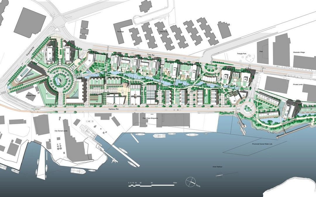 Dockside Green Development Master Plan Pwl Partnership Master Plan City Maps Design Masterplan Architecture