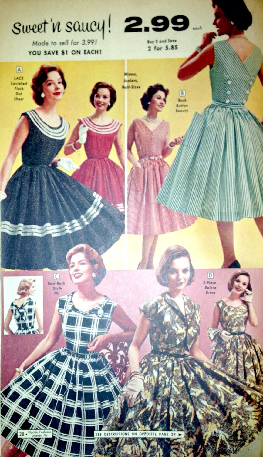 1950s Florida Fashions Catalog Pages Vintage Dresses 50s Vintage Style Dresses 1950 Fashion