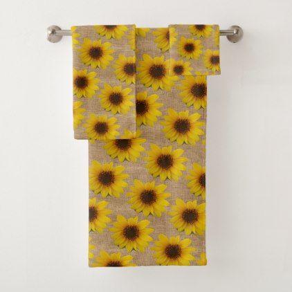 Country Burlap Sunflower Bath Towel Set Zazzle Com Decorative Bath Towels Bath Towel Sets Towel Set