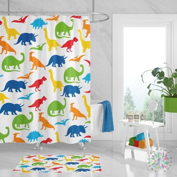 Dinosaur Shower Curtain Dinosaur Bathroom Decor Kids Shower