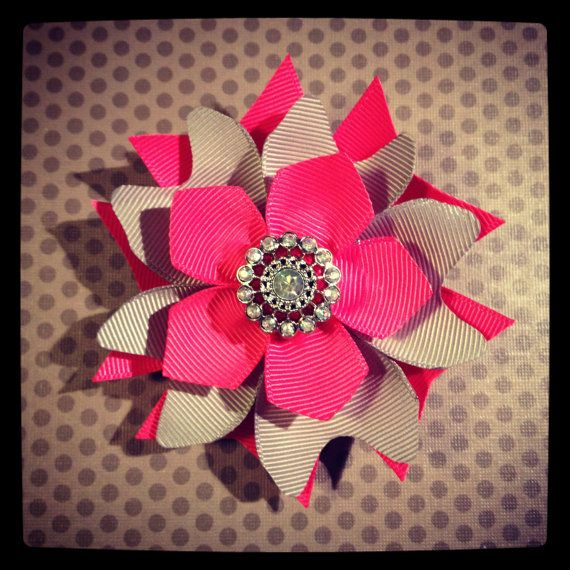 Pink and Gray...Layered Flower Hairclip...Girls by BellesBows2011, $7.00