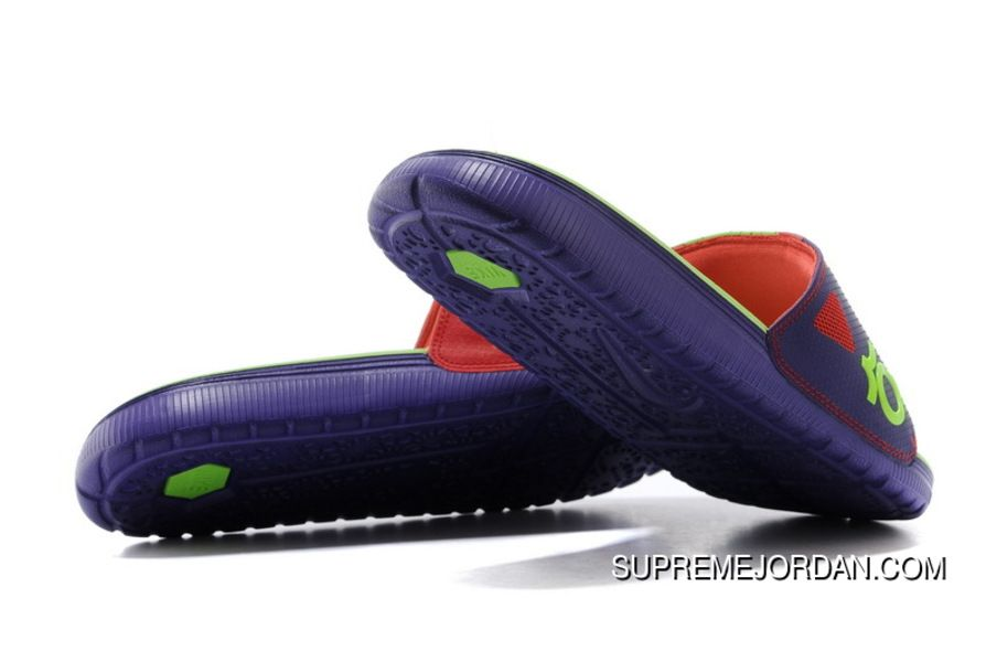 ccb17e6f16c7 Nike KD Solarsoft Slide Court Purple Electric Green-Light Crimson Slippers  For Sale New