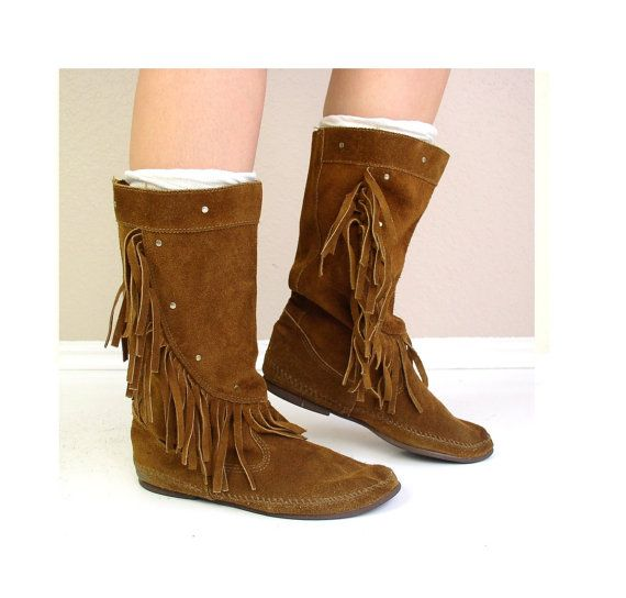 vtg 60s boots STUDDED rust suede MOCCASIN by TigerlilyFrocks, $98.00