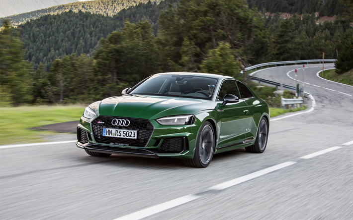 ダウンロード画像 Audi Rs5 2018 4k 緑rs5 スポーツクーペ ドイツ車 山道 アルプス