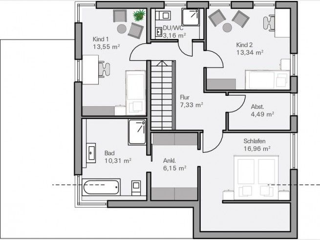 Grundriss Og Architektenhaus Dietz Modern Im Bauhausstil
