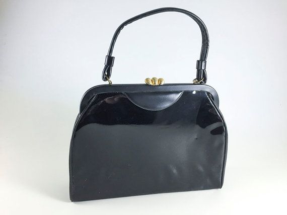 Vintage Black Purse Patent Leather With Gold Toned Shell Clasp Bag Retro Handbag Rockabilly Mid Century