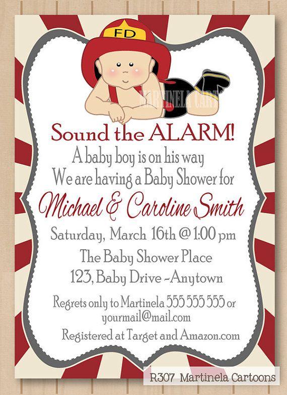 Fireman Baby Shower Invitation Fireman First By Martinelacartoons
