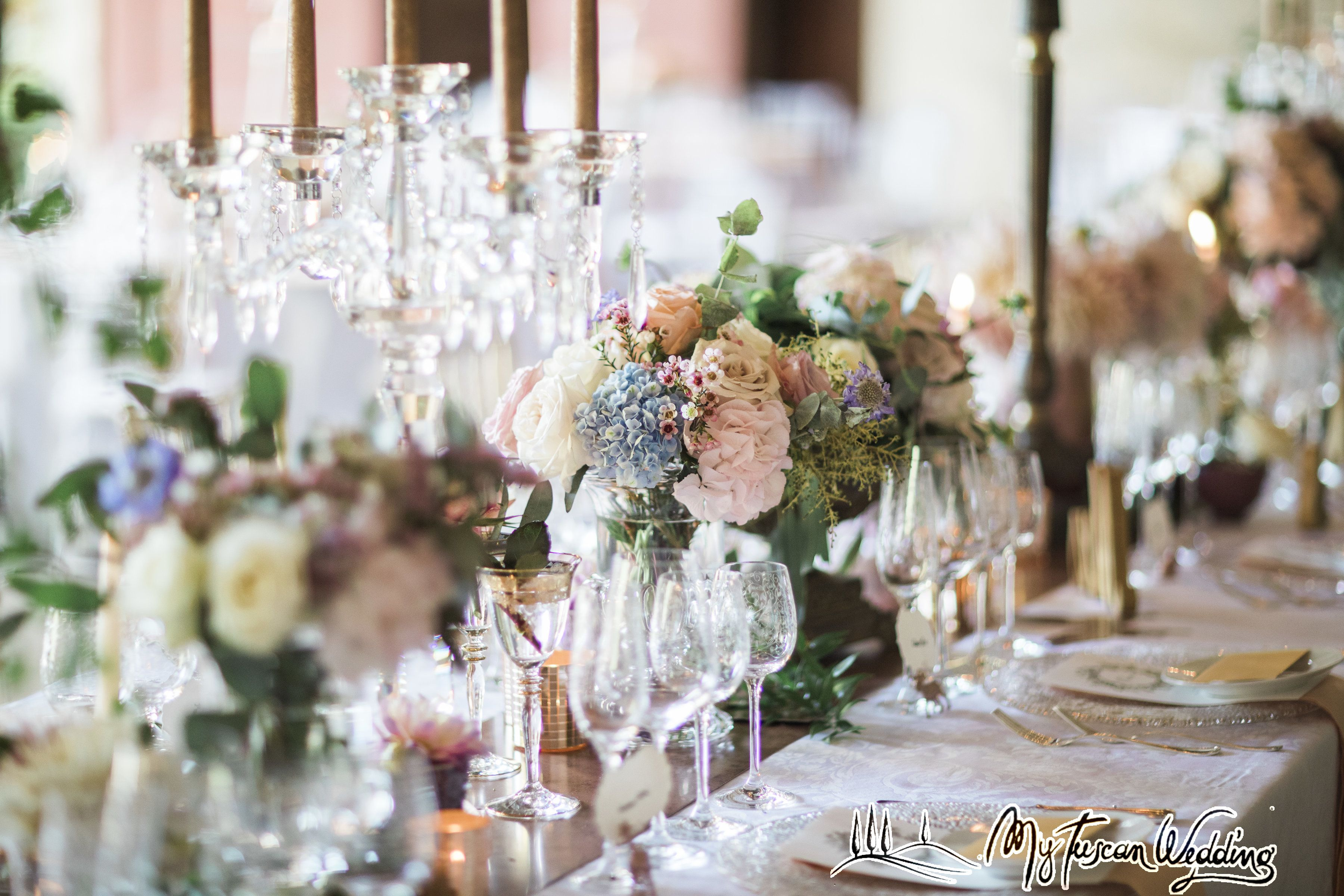 Detail of eclectic rose gold tablescape.