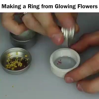 Photo of Making a Resin Cast Ring out of Glowing Flowers