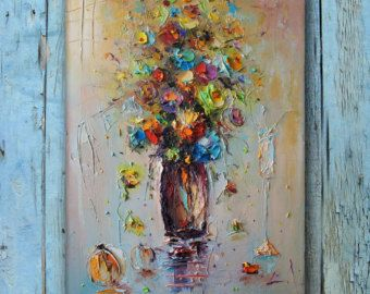 Flowers oil painting - Fine Art by Stanislav Lazarov Tittle: Wild flowers 2 Style: Modern & expressionism & Palette Knife Materials: Quality oil paint on canvas The picture is on canvas on wooden frame and ready for wall mounting Painter: Stanislav Lazarov  The painting is 100% hand painted using quality oil paint on canvas. !! Free Shipping !! Without frame 9 7/16 x 11 13/16 x 13/16 in 24x30 cm  Sides are continuously painted, so there is no need to frame Coated with p...