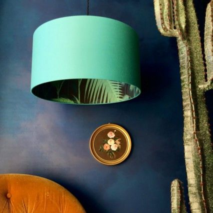 Silhouette Cotton Lampshade Palm Jungle In Jade Lamp Shades Wallpaper Quirky Decor