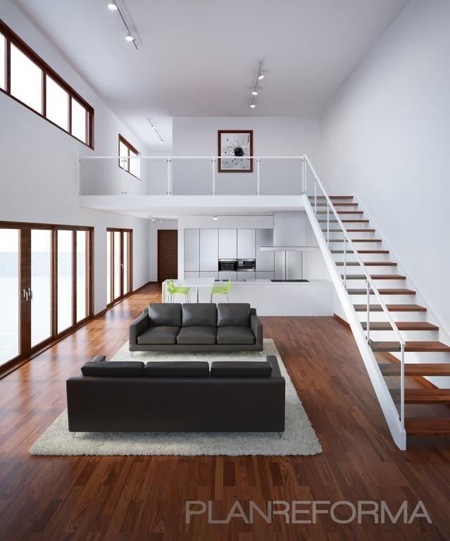 Comedor, cocina, salon, loft estilo moderno color verde, marron ...