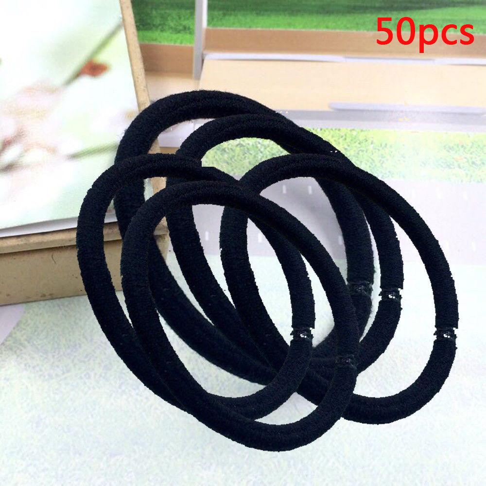 £0.99 GBP - 50X Thin Hair Elastics Bands Mix Quality Black Bobbles Band  School Ponytail 8b482830111