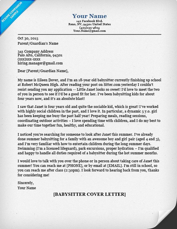 Babysitter Cover Letter Sample Amp Tips Resume Companion Fotolip