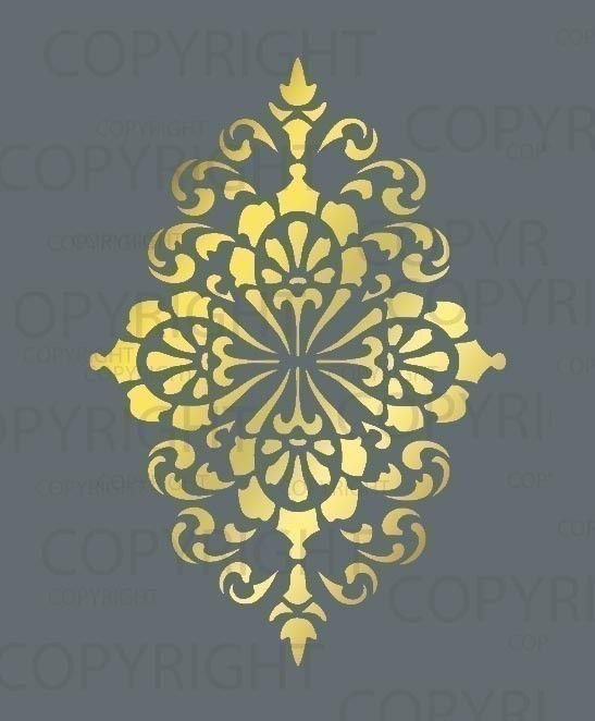Large Wall Damask STENCIL Pattern FAUX MURAL 1015 by Lightsforever