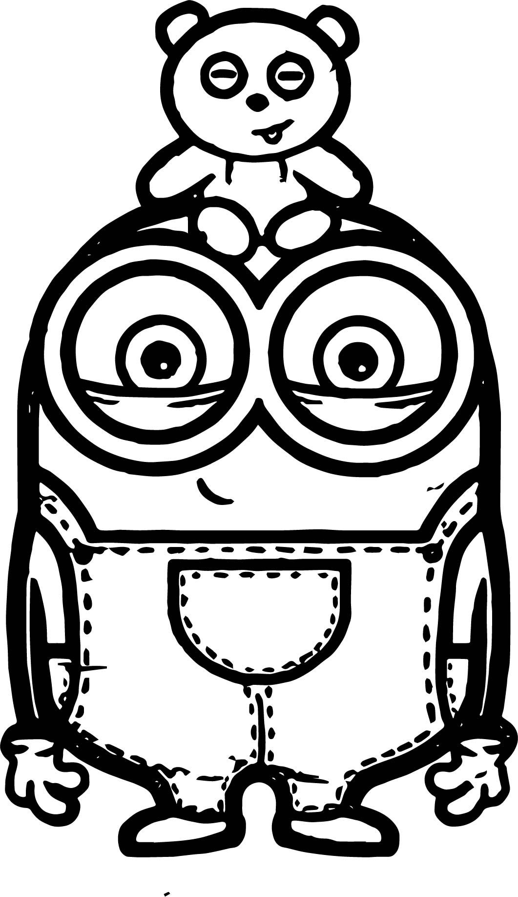 Awesome Minion Bob And Bear Toy Coloring Page Coloriage Coloriage Minion Minion