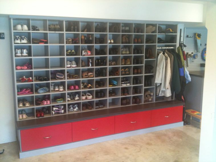 Bon Large Wall Unit Garage Shoe Storage With Hanger For Coat And Red Drawers