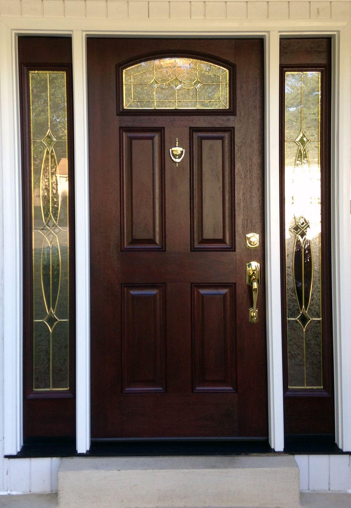 Pictures of front doors with storm doors - Provia Signet Mahogany With Emerald Glass Storm Doorsexterior