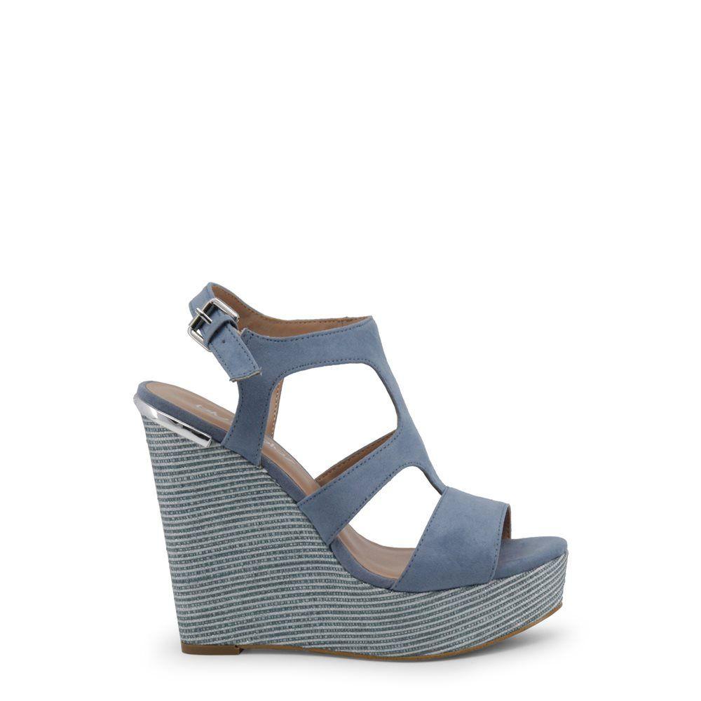 843701e5ca329 Sandalias azules de mujer con cuña y plataforma de Blu Byblos modelo  COVERED 682321