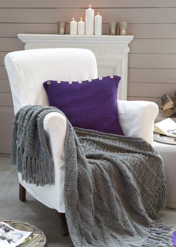 plaid im rechts links muster und kissen knitting home pinterest stricken h keln und. Black Bedroom Furniture Sets. Home Design Ideas