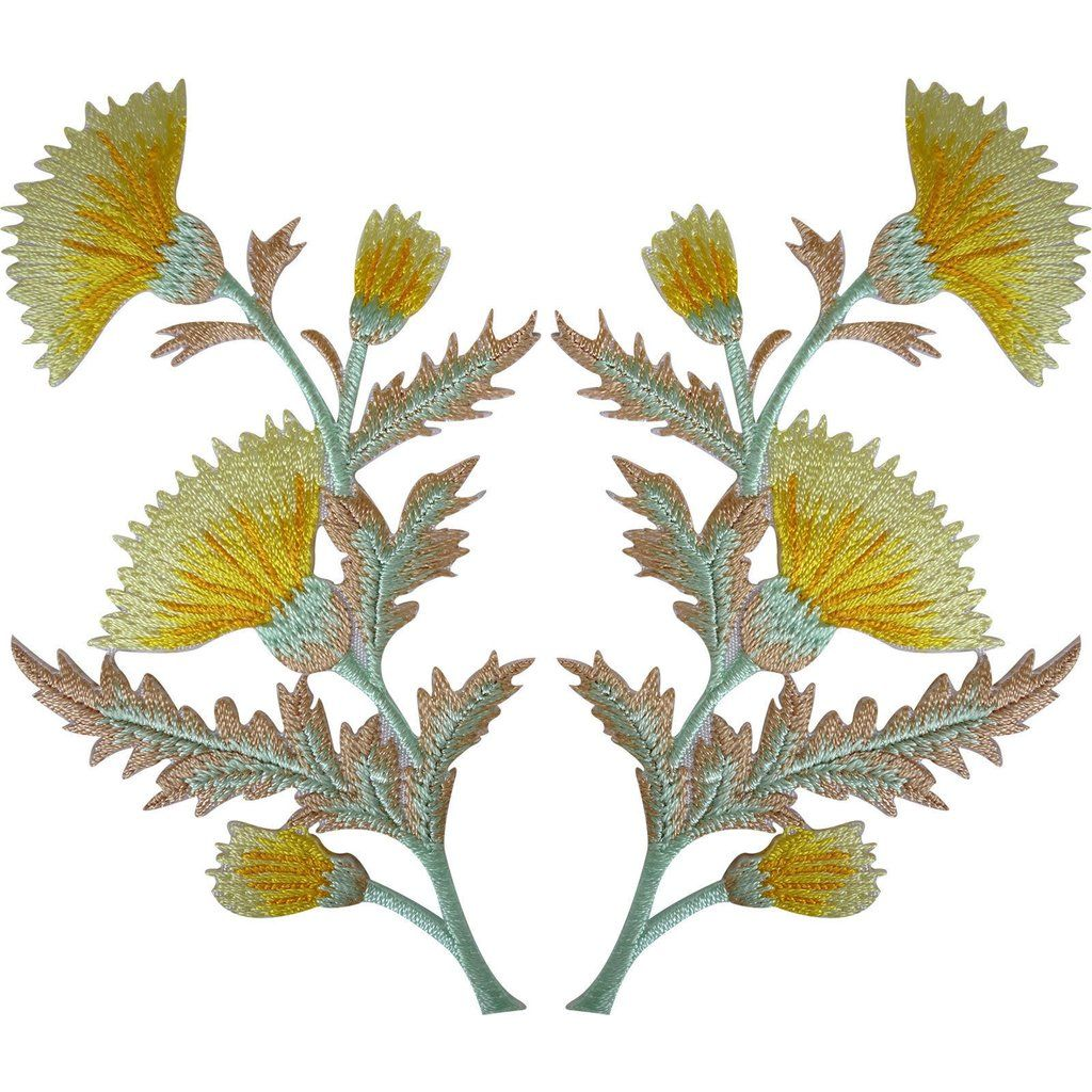 Pair Of Yellow Thistle Flower Patches Iron Sew On Embroidery Patch