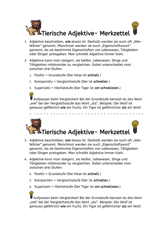 Tierische Adjektive Steigern Fabeln Unterrichtsmaterial Im Fach Deutsch In 2020 Fabeln Adjektive Adjektive Steigern