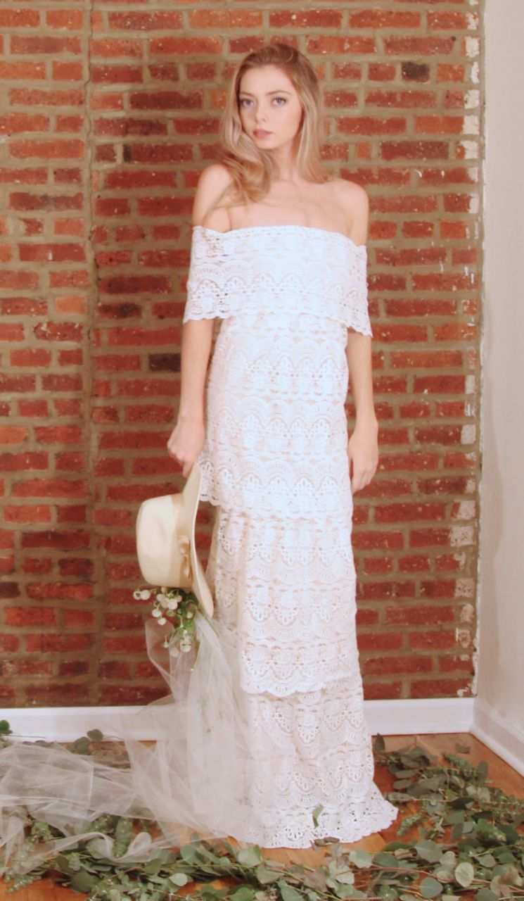 Off the shoulder bohemian wedding dress  lace wedding dress layered dress boho wedding bohemian bride off