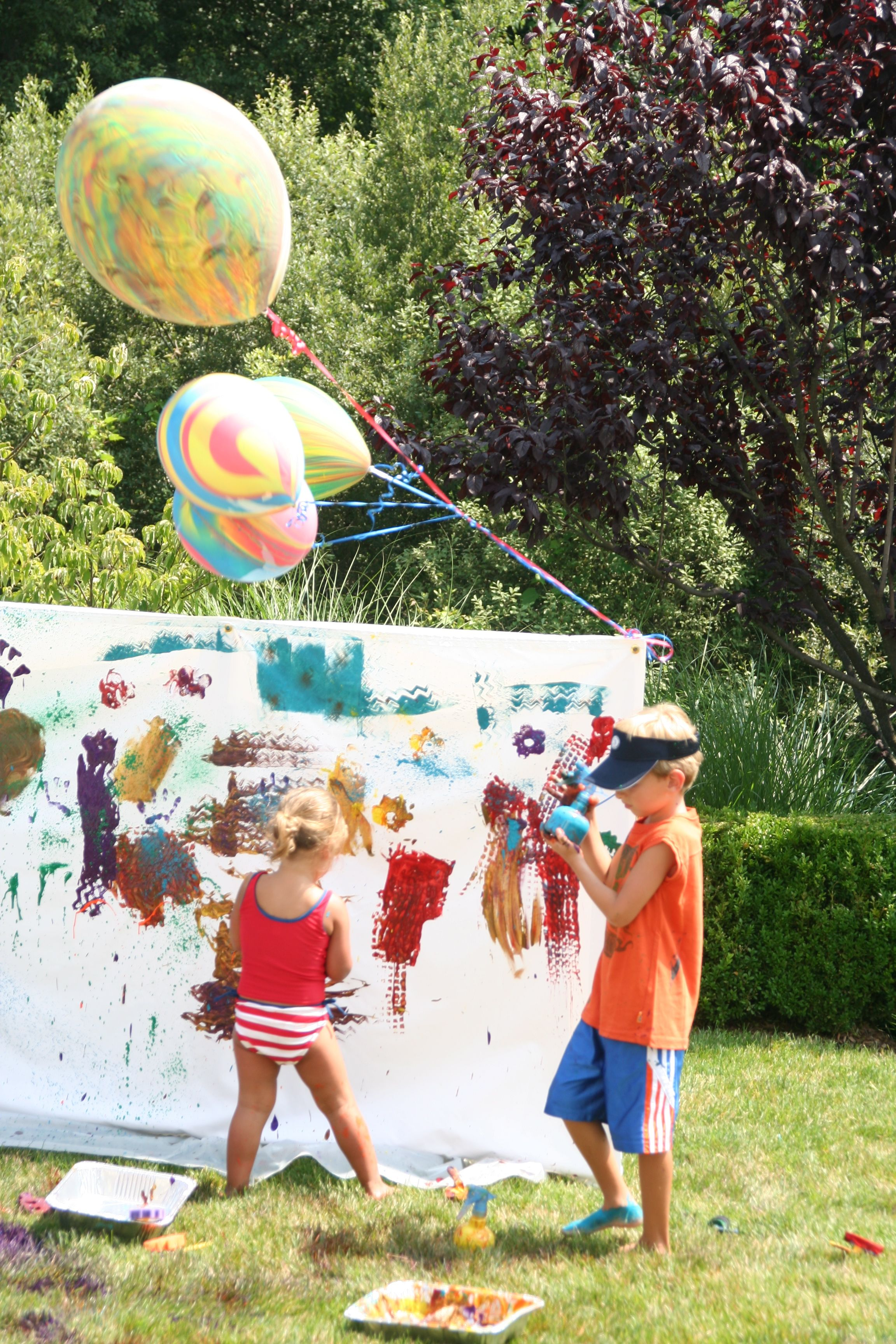 Fun idea for kids messy art party then running through