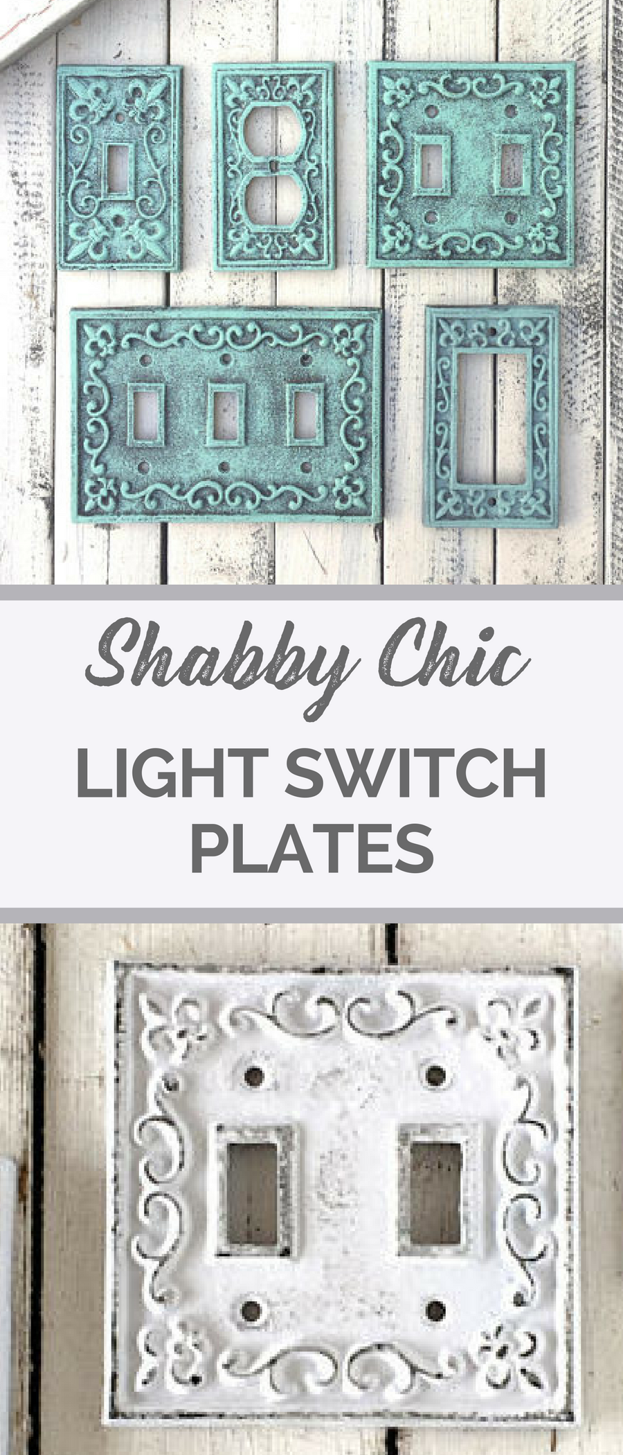 Shabby chic home decor Metal scroll lightswitch plates